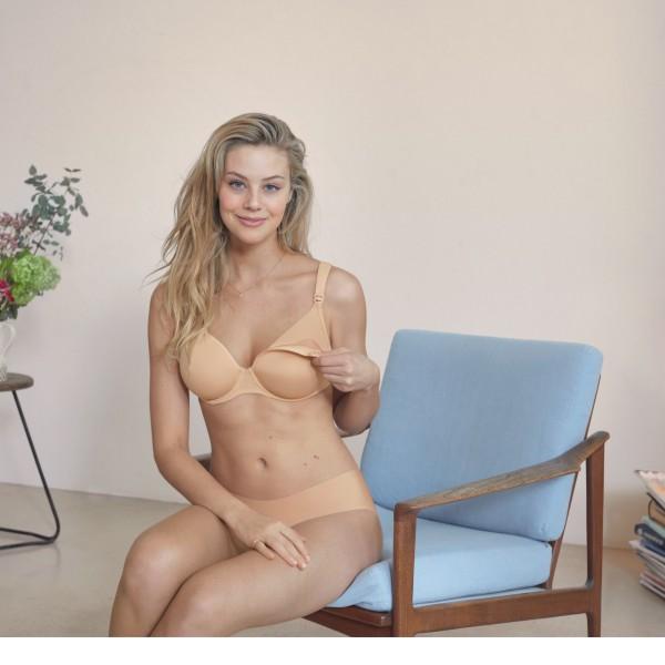 sujetador lactancia con aros y cazoleta copa C color beis