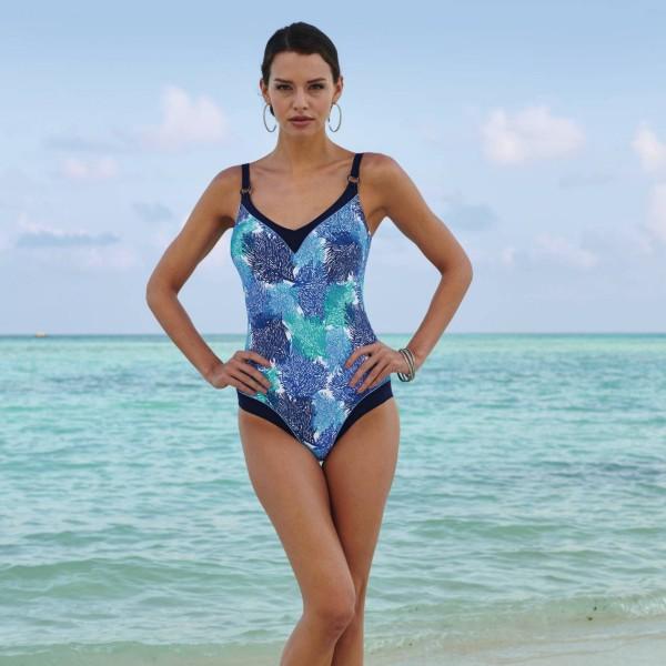 bañador sin aros estampado coral azul copa C