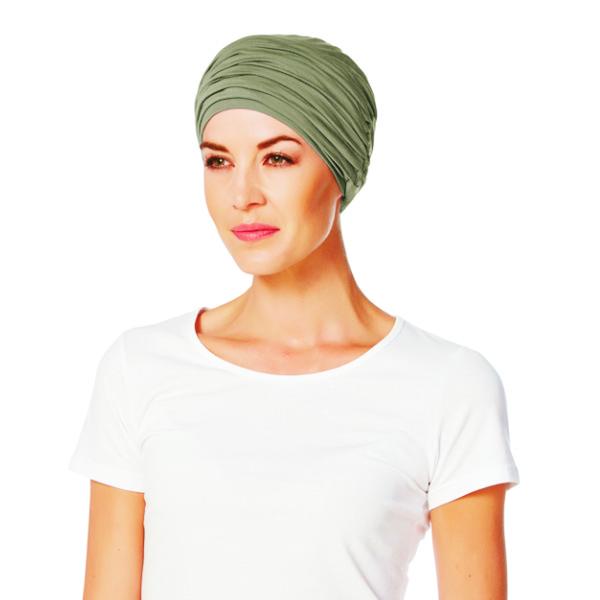 turbante 2 piezas de bambú marron verdoso modelo KARMA